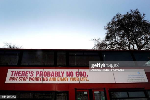 A bus displays an atheist message in Kensington Gardens London
