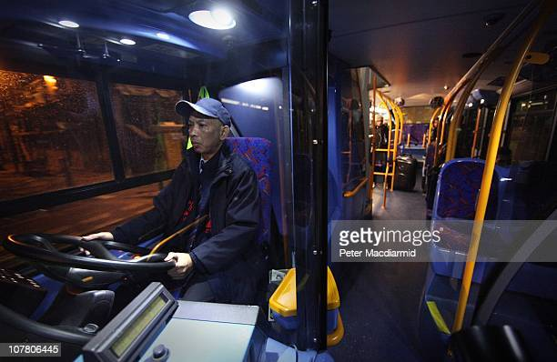 Bus driver Chitpinit Kaewchaluay drives the 762 night bus on December 15 2010 in London England Chitpinit will drive the night bus from midnight...