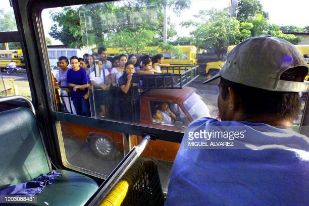 A bus driver for one of the companys that has been shut down for the last eight days watches as people drive to work in trucks 12 June 2001 in...