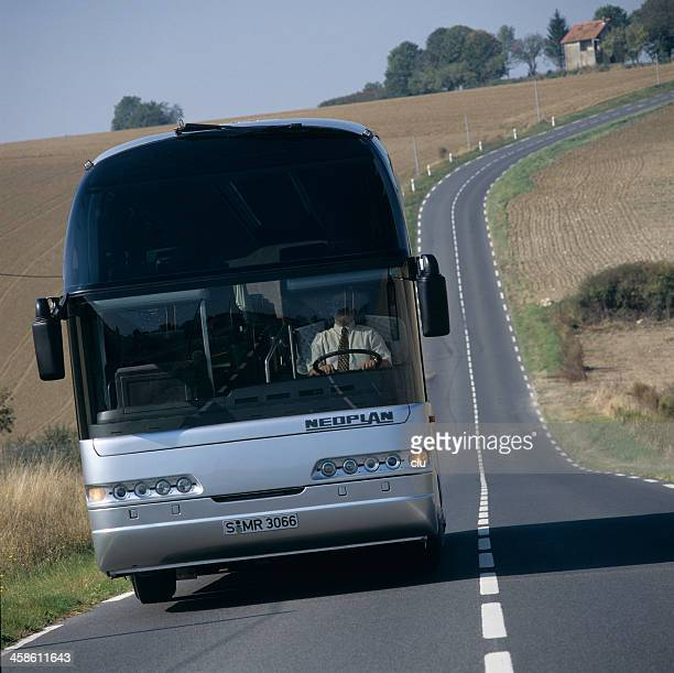 Bus driving on a country road