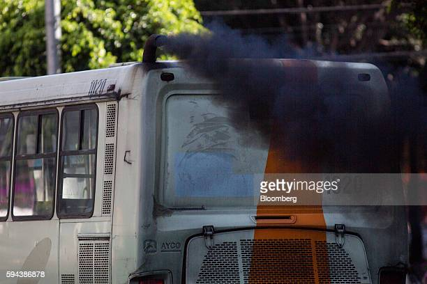 A bus emits exhaust from a pipe in Mexico City Mexico on Thursday Aug 11 2016 Mexico's push to reduce air pollution may set the stage for a surge in...