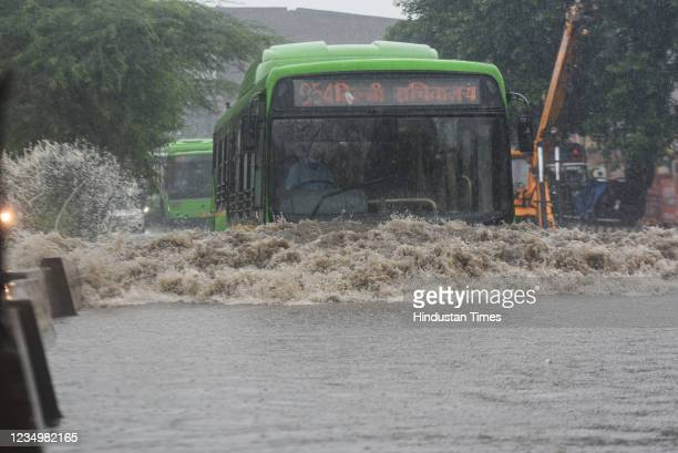 Bus in a waterlogged road after heavy rainfall at Anand Parbat on August 31, 2021 in New Delhi, India.