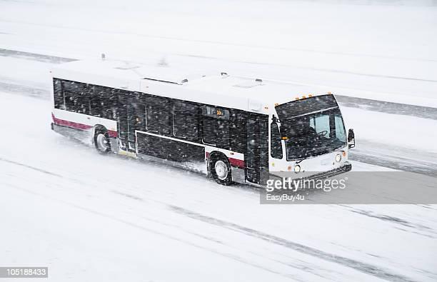 Bus in blizzard