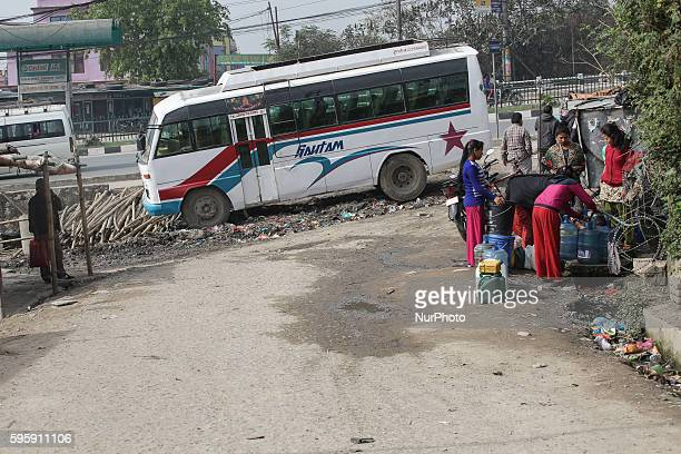 Bus in Katmandu Nepal on 26 August 2016 As the roads are dangerous there are many fatal accidents every week as the routes are on the mountains on...