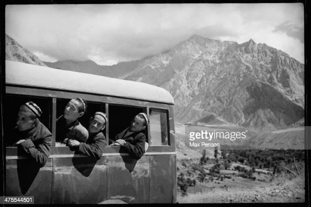 Bus in mountains, circa 1940.