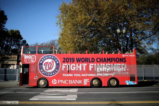 A bus is seen before the 2019 World Series victory parade on Saturday November 2 2019 in Washington DC