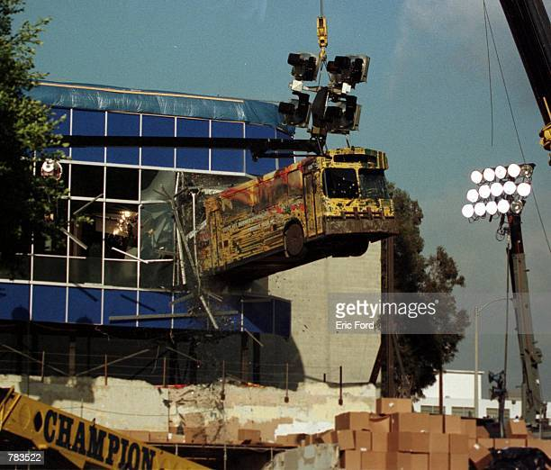 A bus is suspended in midair for a crash scene for the upcoming film 'Swordfish' January 30 2001 in Los Angeles CA