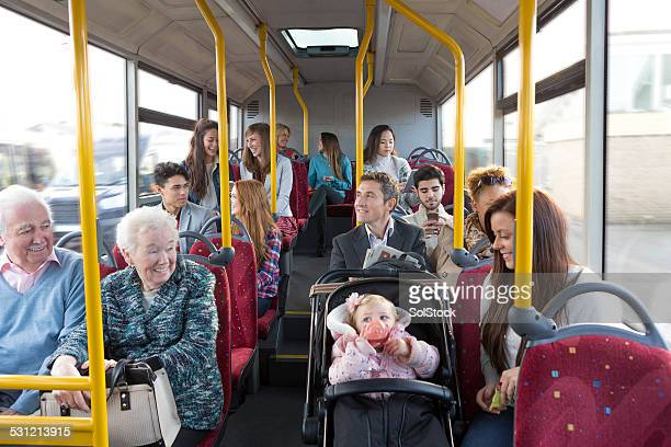 bus journey - british granny stock photos and pictures