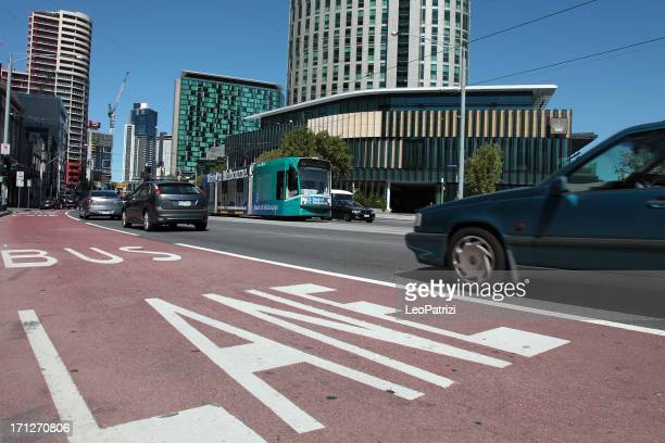 Bus lane and tram in Melbourne