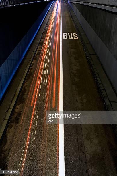 Bus lane at night