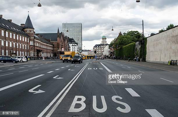 Bus lane in Copenhagen, Denmark