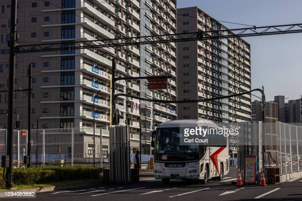 Bus leaves the Tokyo Olympics athletes village on July 19, 2021 in Tokyo, Japan. Two South African football players have become the first athletes...