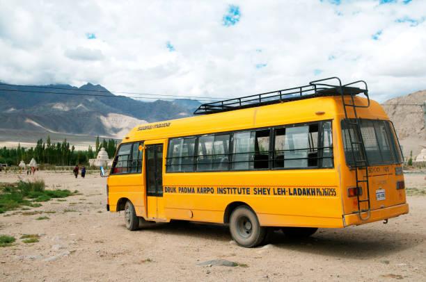 Bus of druk padma karpo institute, Shey, Leh, Ladakh, Jammu and Kashmir, India