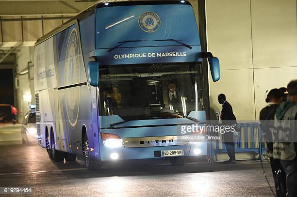 Bus of Marseille arrives at stadium during the French Ligue 1 match between Marseille and Bordeaux at Stade Velodrome on October 30 2016 in Marseille...
