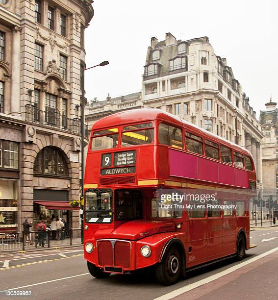bus on street - double decker bus stock pictures, royalty-free photos & images