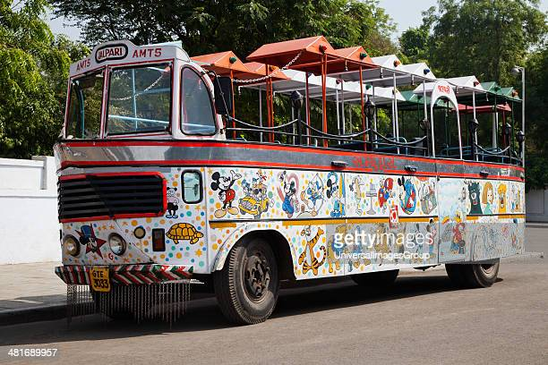 Bus on the road Kankaria Lake Ahmedabad Gujarat India