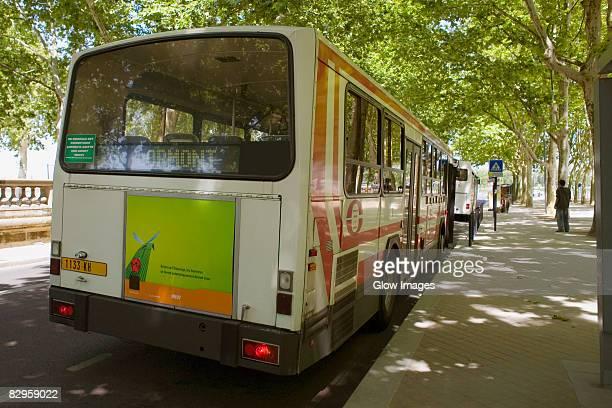 Bus parked at the roadside, Allees De Bristol, Bordeaux, Aquitaine, France