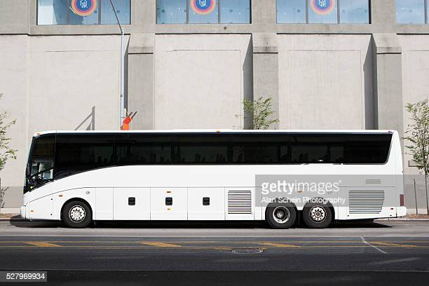 Bus parked in front of building