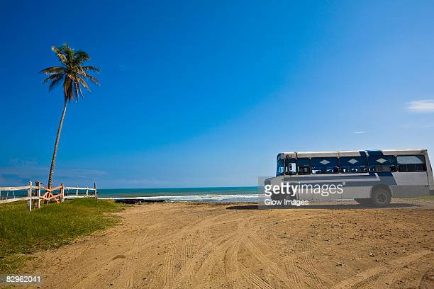 Bus parked on the beach, Ranch Beach, Papantla, Veracruz, Mexico