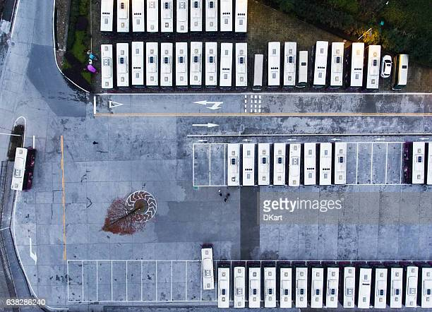 bus parking - large group of objects stock pictures, royalty-free photos & images