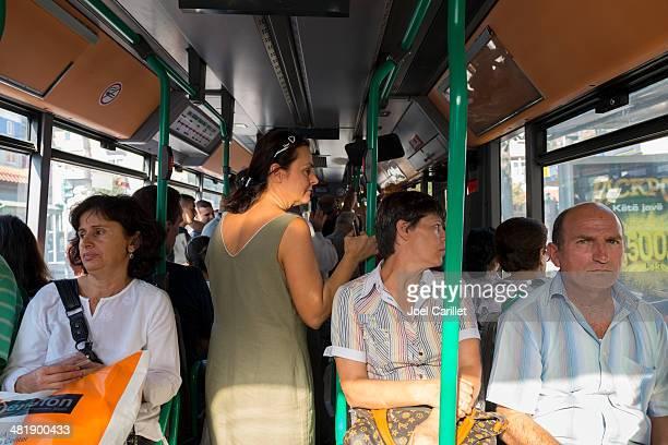 Bus passengers in Tirana Albania