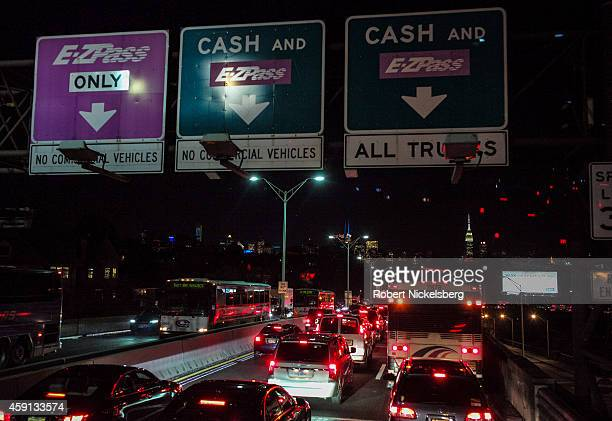 Bus passengers on board a Megabus coach service are caught in a traffic jam November 10 2014 near the Lincoln Tunnel in Weehawken New Jersey A view...