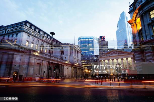 Bus passes the Bank of England in the City of London, U.K., on Thursday, Feb. 4, 2021. The central bank is due to release its latest decision on...
