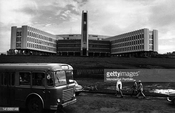 A bus passing in front of the City Council of Addis Ababa Addis Ababa 1970s