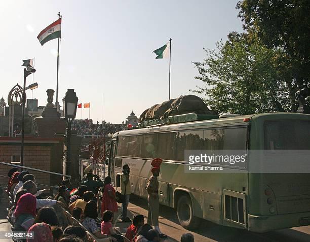 Bus plying between India and Pakistan crossing wagah border