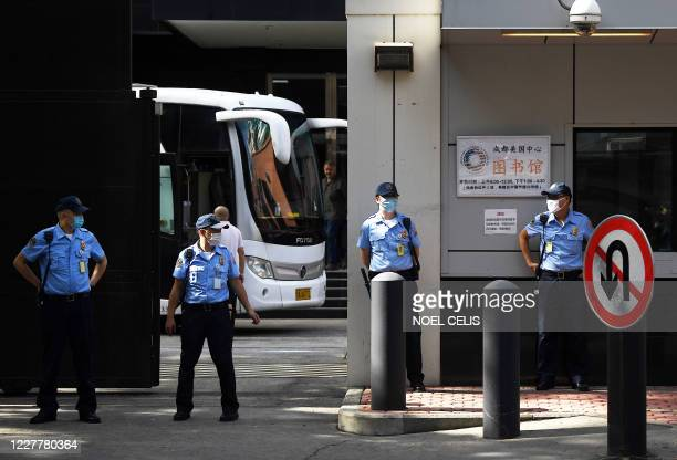 Bus prepares to leave the US consulate in Chengdu, southwestern China's Sichuan province on July 26, 2020. - Tensions have soared between the two...