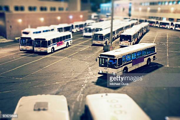 NYC MTA bus pulling into bus depot in queens