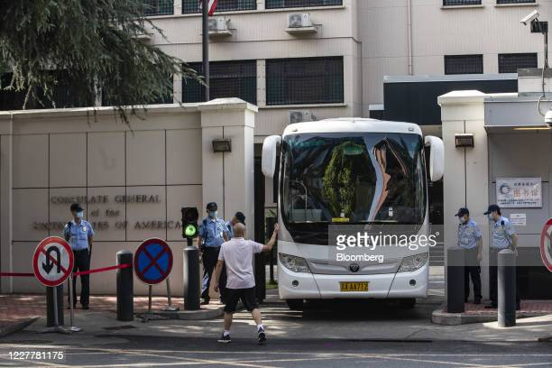 Bus pulls out of the U.S. Consulate General Chengdu in Chengdu, China, on Sunday, July 26, 2020. Theclosureof the U.S. Consulate in Chengdu is the...