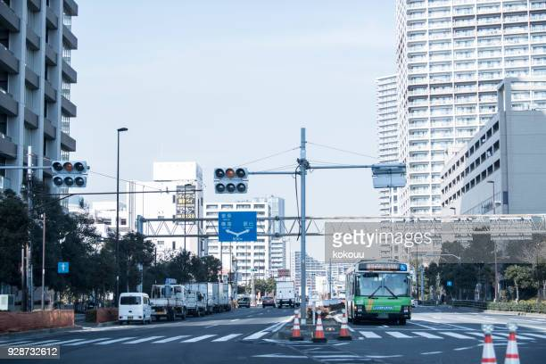 a bus runs town. - road signal stock pictures, royalty-free photos & images