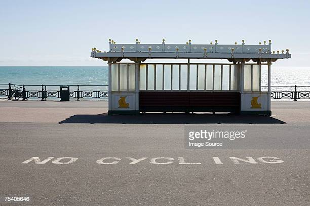 Bus shelter near the sea
