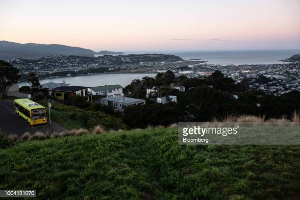 A bus sits parked at a bus stop on Mount Victoria Lookout in Wellington New Zealand on Wednesday July 18 2018 New Zealand inflation picked up in the...