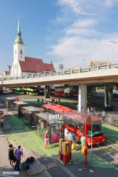 Bus stand under Novy Most and Bratislava cathedral