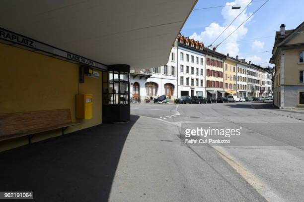 bus station at old town of biel, switzerland - ベルン ストックフォトと画像