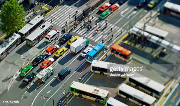 Bus station at Shinuya station in miniature