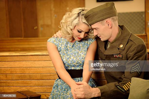 Bus Station Farwells Between WWII Soldier and His Lady