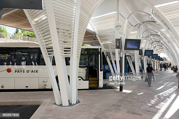 bus station in aix-en-provence, france - aix en provence stock pictures, royalty-free photos & images