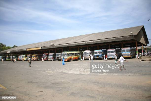 Bus station in Thrissur, Kerala, India.