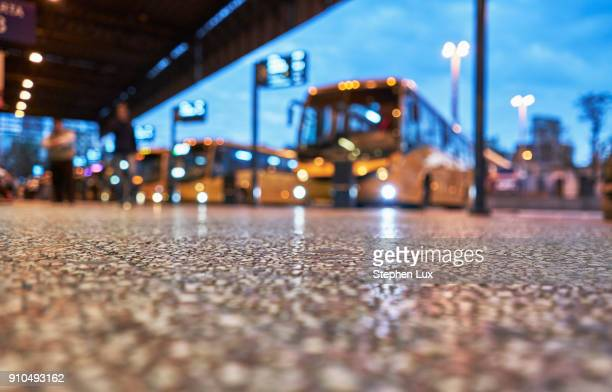 Bus station, surface level view, Montevideo, Uruguay, South America