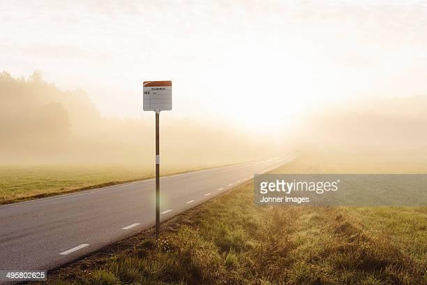 Bus stop at morning, Norrkoping, Ostergotland, Sweden