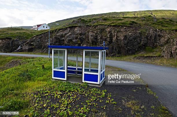 Bus stop at Streymnes village of Streymoy Island in Faeroe Islands
