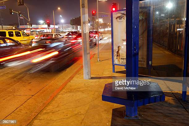 A bus stop bench goes unused as buses remain shutdown by the Metropolitan Transportation Authority mechanics strike on October 16 2003 in Los Angeles...