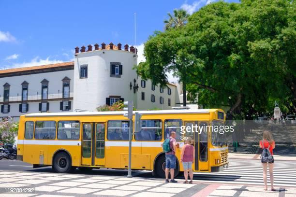 "bus stop in front of palácio de são lourenço in funchal on madeira island during a beautiful summer day - ""sjoerd van der wal"" or ""sjo"" - fotografias e filmes do acervo"