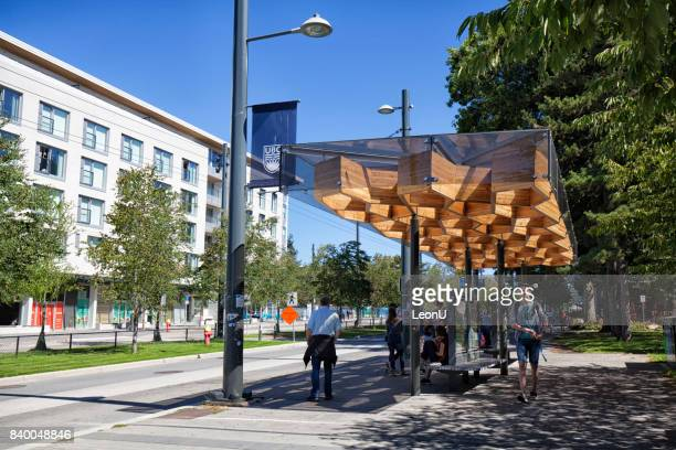 bus stop in ubc campus, vancouver, canada - ubc stock pictures, royalty-free photos & images