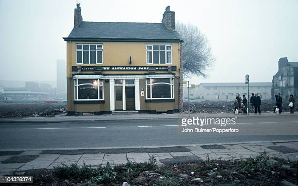 A bus stop outside The Alexandra Park pub in Manchester England in 1976