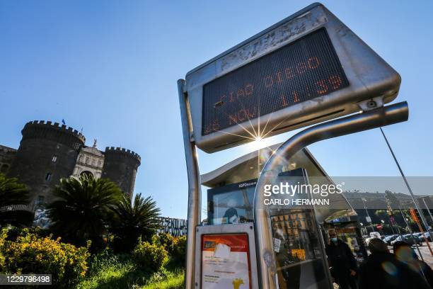 """Bus stop sign opposite the Castel Nuovo reads """"Ciao Diego"""" on November 26, 2020 in Naples, southern Italy, a day after the death of Argentinian..."""