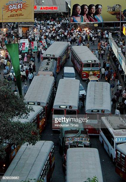 Bus Stop Traffic Jam Hoardings Autorickshaw Strike Buses take over the auto stand outside Andheri station as automen went on strike to protest...